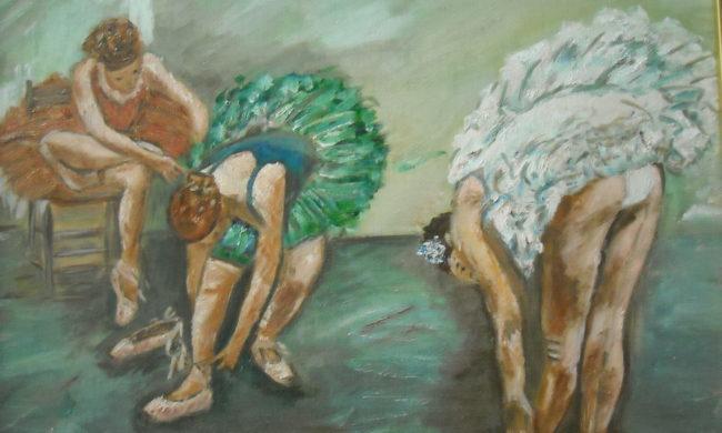 Ballerina. Dipinto quadro olio su tela. Artista Pinamaria Polcari.