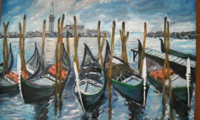 Barche al molo. Dipinto quadro olio su tela. Artista Pinamaria Polcari.