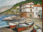 Barchette. Dipinto quadro olio su tela. Artista Pinamaria Polcari.