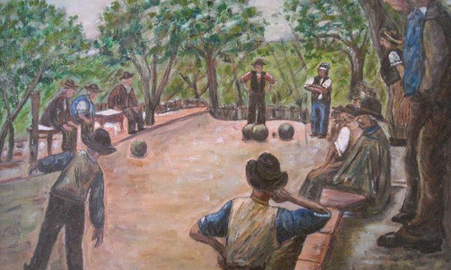 Bocce. Dipinto quadro olio su tela. Artista Pinamaria Polcari.