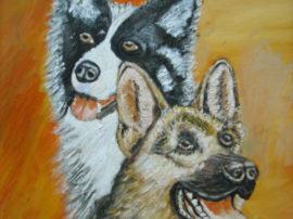 Cani. Dipinto quadro olio su tela. Artista Pinamaria Polcari.