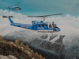 Dipinto quadro olio su tela Polizia elicottero