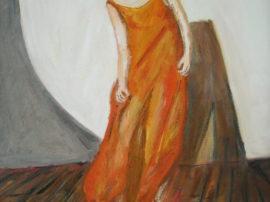 Donna con vestito arancione. Dipinto quadro olio su tela. Artista Pinamaria Polcari.