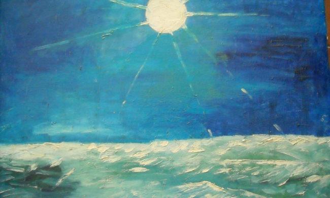 Luna e mare. Dipinto quadro olio su tela. Artista Pinamaria Polcari.