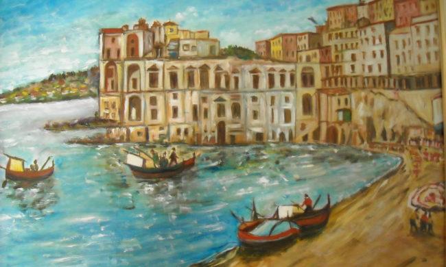 Mare. Dipinto quadro olio su tela. Artista Pinamaria Polcari.