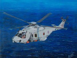 Dipinto quadro olio su tela Elicottero
