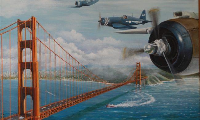 Ponte Brooklin. Dipinto olio su tela.