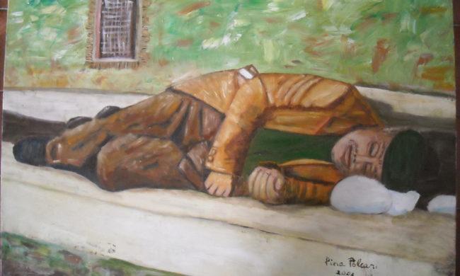 Vecchio che dorme. Dipinto quadro olio su tela. Artista Pinamaria Polcari.