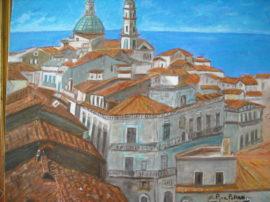 Veduta. Dipinto quadro olio su tela. Artista Pinamaria Polcari.