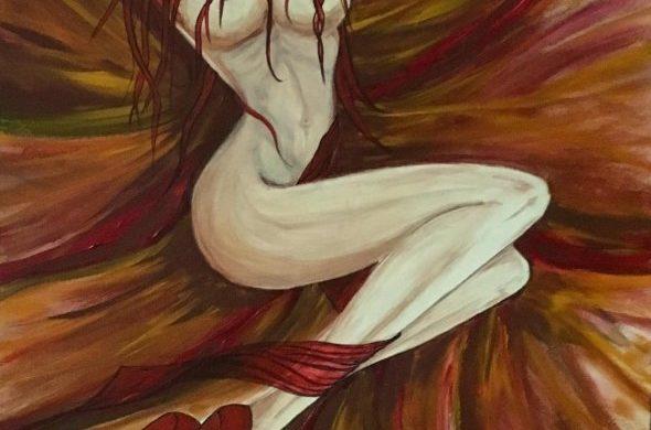 Vibrazioni. Dipinto olio su tela omaggio alla sensualita della donna