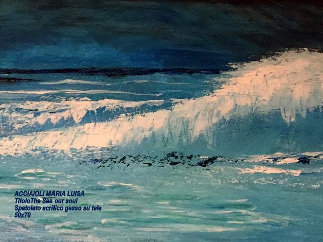 ACCIAIOLI MARIA LUISA Titolo THE SEA OF OUR SOUL SPATOLATO ACRILICO GESSO SU TELA 50x70
