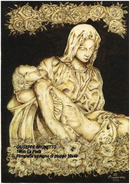 GIUSEPPE BRUNETTO Titolo La Pietà pirografia su legno di pioppo 30x40