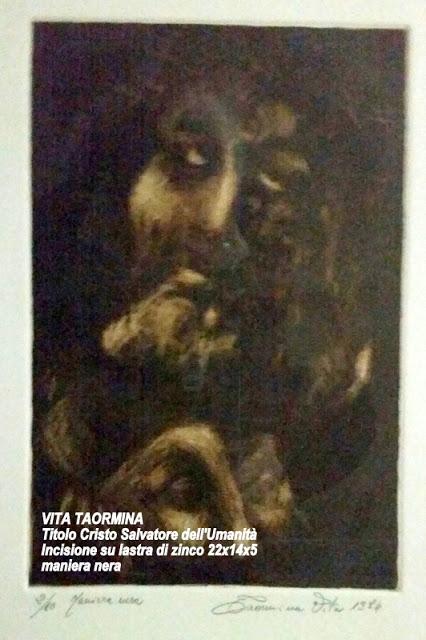VITA TAORMINA Titolo Cristo Salvatore dell'Umanit_ Incisione su lastra di zinco 22x14x5 maniera nera
