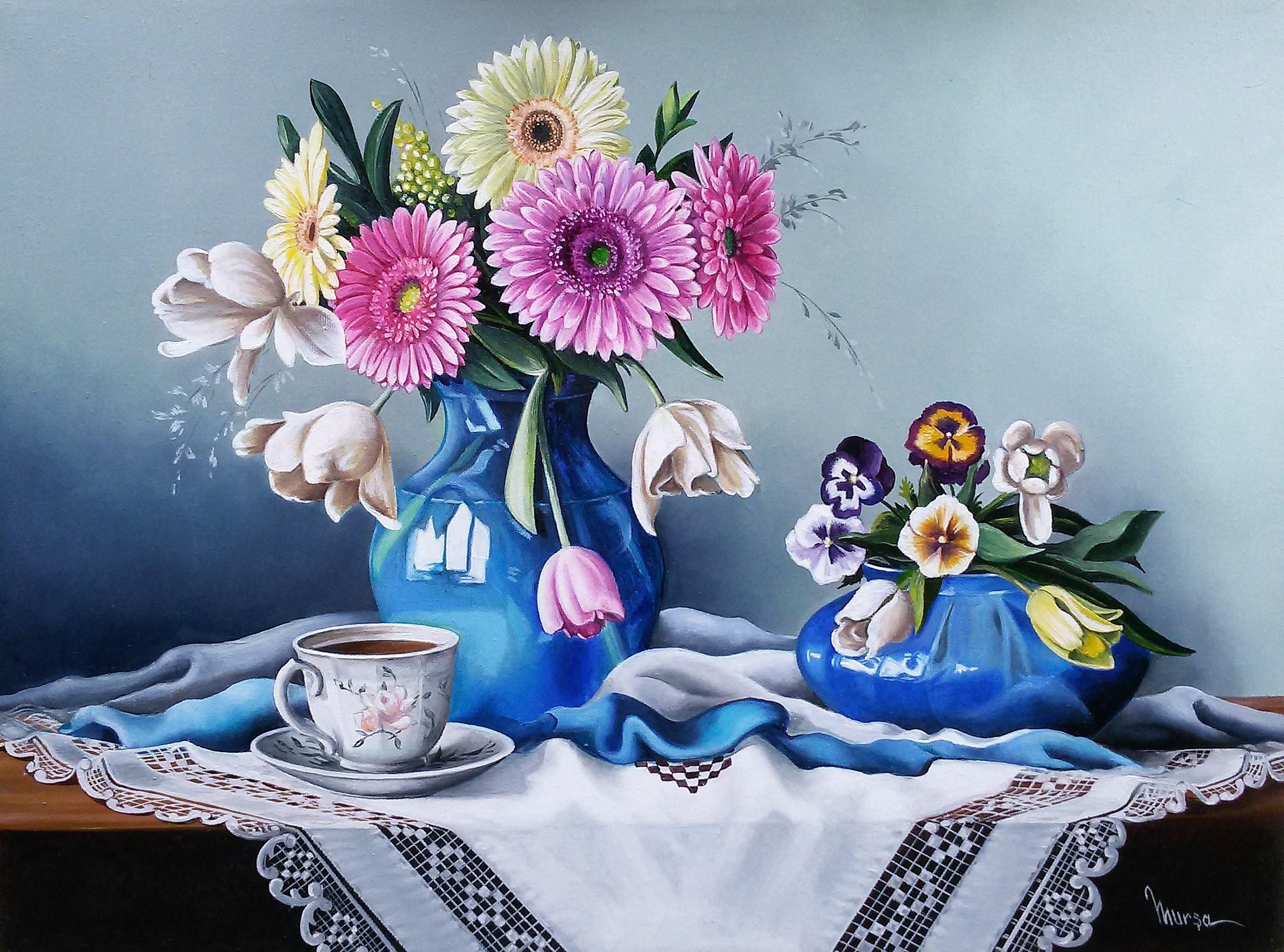 Quadri vendita online fiori gerbere olio su tela 60 45 for Fiori gerbere