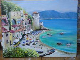 Olio su tela Cetara 30 x 40. Dipinto artista Aniello Marino