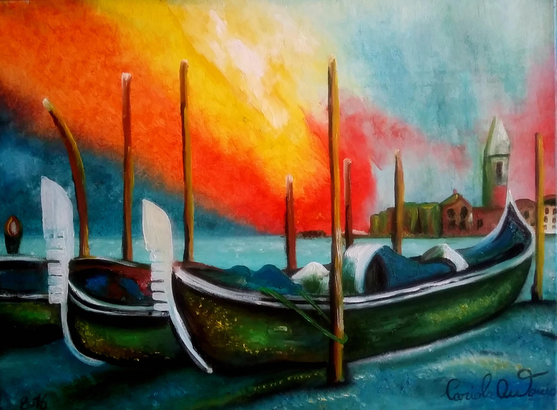 Quadri vendita online: Le gondole di venezia quadro dipinto ...