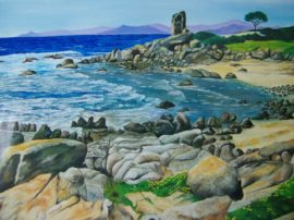 Sardegna- Portù Pirastu 60x40 olio su tela. Nei pressi di Capo Ferrato in Sardegna si possono osservare meravigliose piccole spiagge dove il silenzio domina incontrastato. Qui si gusta veramente la voce del mare.