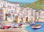 Spiaggia con barchette dipinto