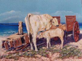 Maternità con mucca dipinto