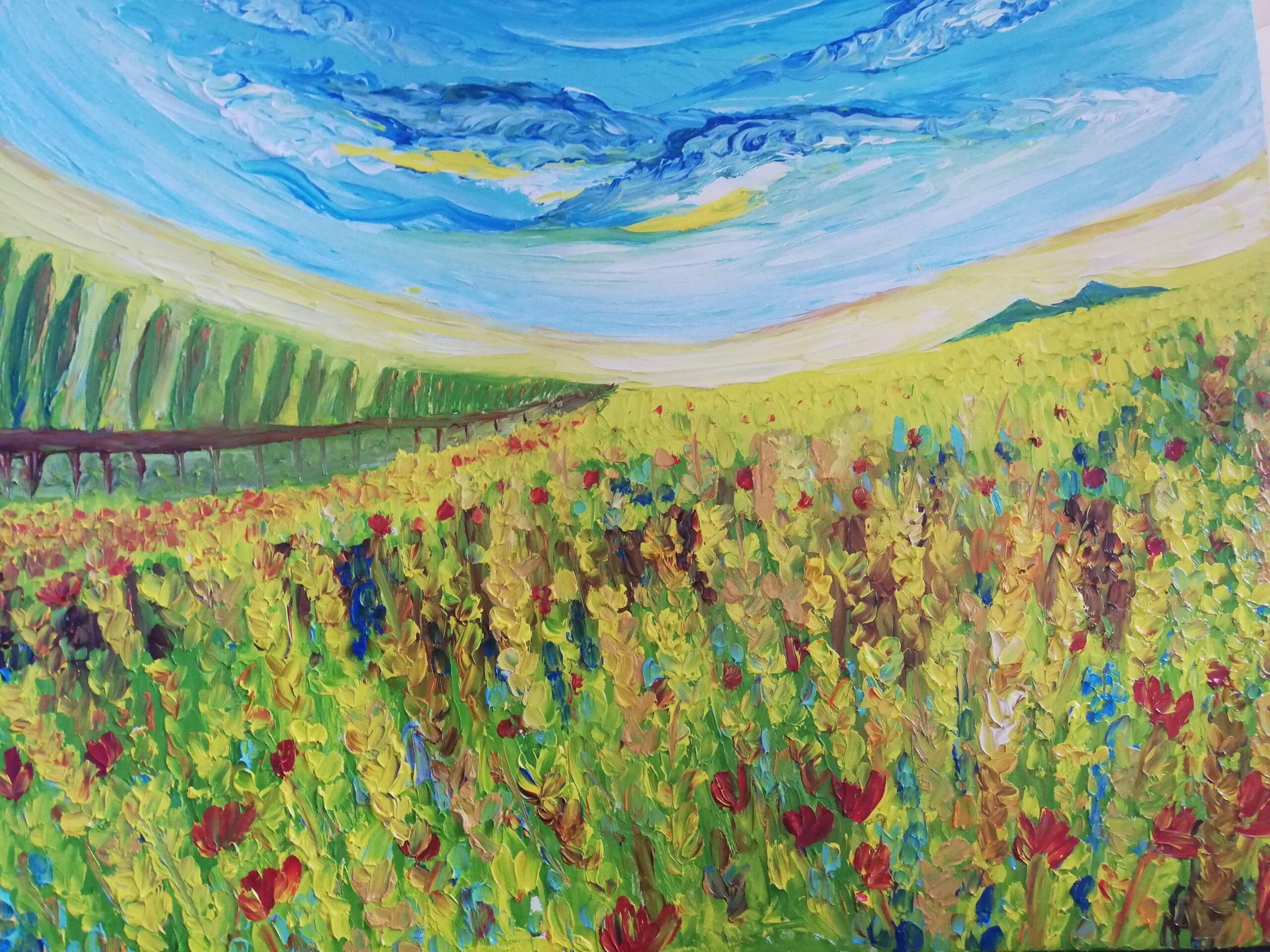 Campo papaveri dipinto